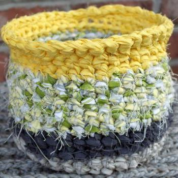 Grey and Yellow Rag Crochet Basket